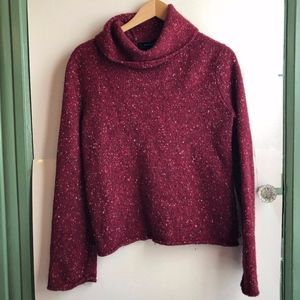 EXPRESS Burgundy Maroon Red WOOL Cowl Neck Sweater